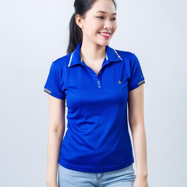 Áo thun cổ vải phối caro xanh dương