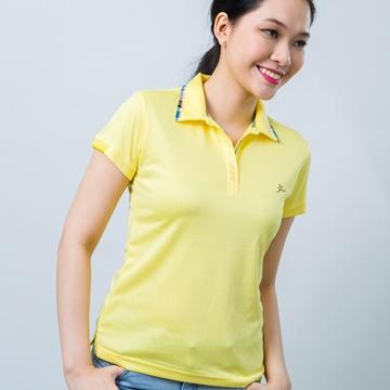 Áo thun nữ cổ vải phối caro vàng