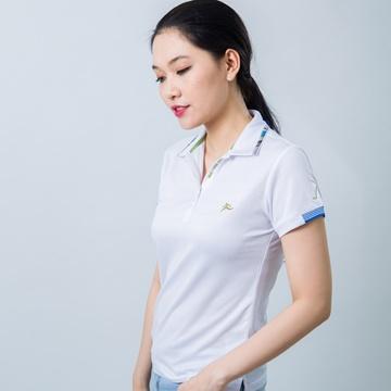 Áo thun nữ cổ vải phối caro trắng