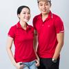 Áo thun cặp mè cổ caro - Đỏ