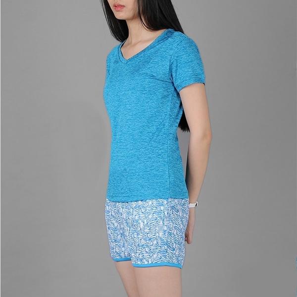 Áo thun thể thao nữ cổ tim COLO màu xanh yamaha CL1709989CT