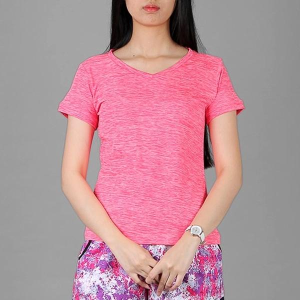 Áo thun thể thao nữ cổ tim COLO màu hồng cam