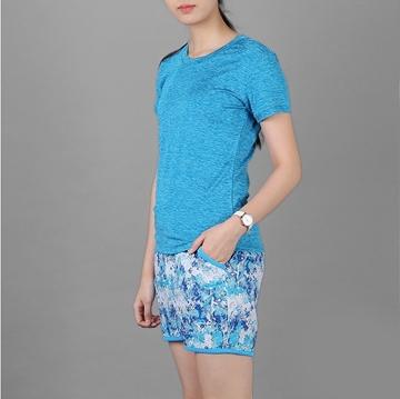 Áo thun thể thao nữ cổ tròn COLO màu xanh yamaha