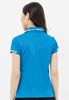 Áo thun nữ cổ vải phối caro xanh da trời