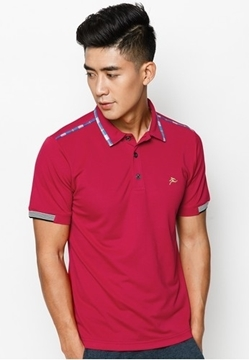 Áo thun nam cổ vải phối caro đỏ