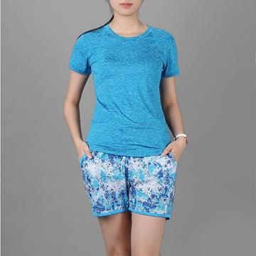 Bộ đồ thể thao nữ cổ tròn COLO màu xanh yamaha